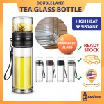 (Ready Stock) Tempered Glass Cup Tea Bottle Stainless Steel Filter Heat Resistant Glass Water Seperator