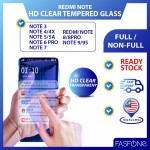 RedMi Note 3 4 4X 5 5A 6Pro 7 8 9 9S Round Edge HD Transparent Tempered Glass