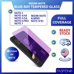 Redmi Note 3 4 4X 5 5A 6Pro 7 8 9 9S Anti Blue-ray Clear Matte Full Cover Purple Tempered Glass