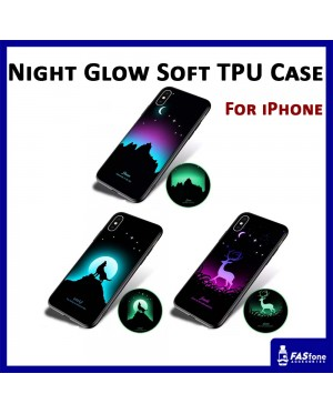 Night Glow Soft Tpu Back Case Cover for iPhone 6 6s 7 8 Plus X Xs