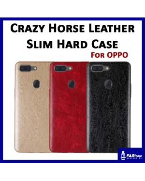 Crazy Horse Leather Slim Hard Case for Oppo F1S A59 F5 F7 R9S