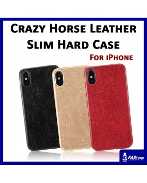 Crazy Horse Leather Slim Hard Case for iPhone 5 5S SE 6 6s 7 8 Plus X Xs