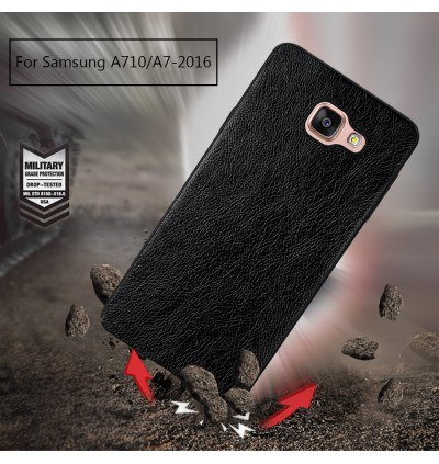 Crazy Horse Leather Slim Hard Case for Samsung A3 A5 A7 A8 2016 2017 2018