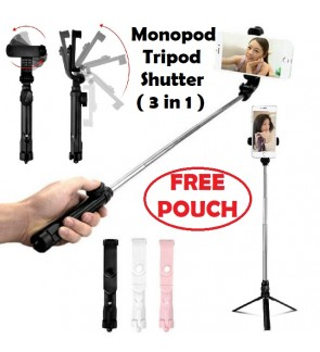 FREE Pouch 360 Bluetooth Selfie Stick Monopod Tripod IOS / Android (3 In 1)