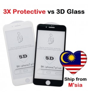 Apple iPhone 5D Full Cover Tempered Glass 6 6s 7 8 Plus X Xs Max