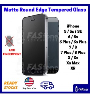 (Ready Stocks @ Malaysia) Matte iPhone 12 Mini Pro Max 5 5S SE 6 6S 7 8 Plus X Xs MAX XR Apple Round Edge Tempered Glass