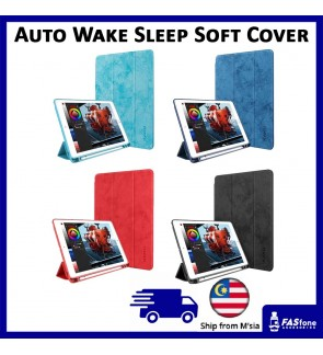 KAKU Auto Wake Sleep Soft TPU Flip Cover Apple pencil slot holder iPad 2017 2018
