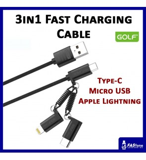 Golf Nylon Fast Charging Cable (3 in 1) GC51 Micro Apple Lightning Type C