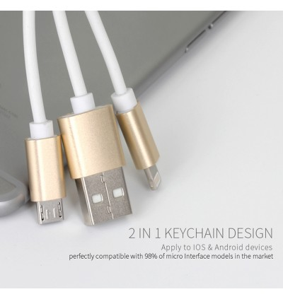 Golf Apple Lightning Micro Usb Golden Key Chain Cable ( 2 in 1 ) GC35