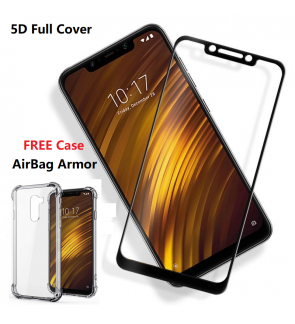 Pocophone F1 5D Full Cover Tempered Glass FREE Airbag Armor Case Xiaomi Mi