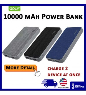 Golf 10000 MAH Full Capacity Power bank Soft Cloth Cover G31