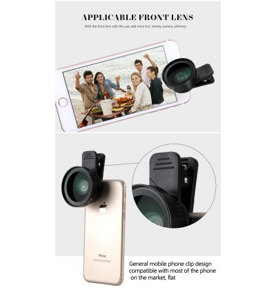 2 in 1 0.6x Super Wide Angle Macro Universal Clip Lens for iPhone Samsung etc