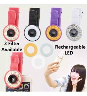 Universal Wide Angle Clip Lens with rechargeable selfie led flash light