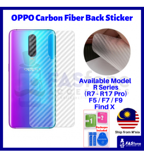 Oppo R7s R9 R9s Plus R15 R17 Pro F5 F7 F9 Find X Carbon Fiber Back Sticker