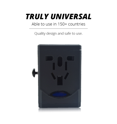 Universal Travel Adapter Worldwide Fast Charging Dual USB Port Safety Fuse