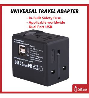 Dual USB Port Fuse Universal Travel Adapter Worldwide 2500 mA Fast Charging