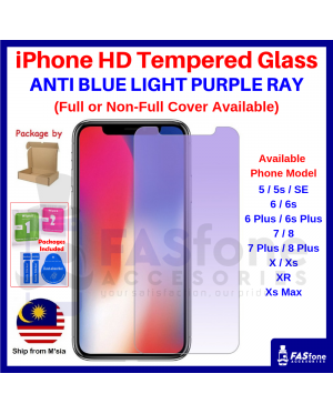 iPhone 6 6s 5 5s 8 7 Plus X Xs Max XR Tempered Glass Screen Protector Purple Ray