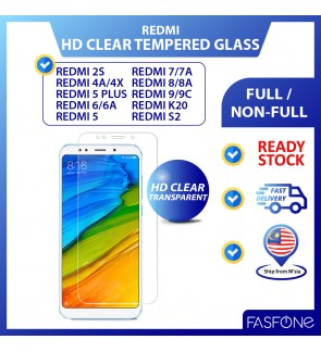 RedMi 2S 4A 4X 5 Plus 6 7 8 6A 7A 8A 9 9C K20 S2 Round Edge HD Transparent Tempered Glass