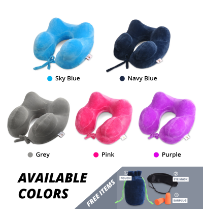 Inflatable Travel Neck Pillow Soft Air U Shape Health Pillow Convenient Car Face