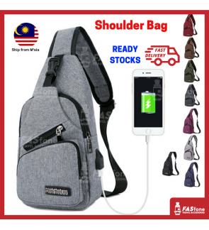 (M'sia R. Stocks) Shoulder Bag Men Sling Bag Sport Bag Outdoor Sling USB Bag