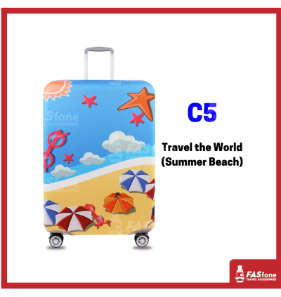 (M'sia R.Stocks) Luggage Protector Elastic Luggage Cover Luggage Suitcase Travel