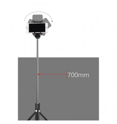 360 4 in 1 Bluetooth Selfie Stick Light Rotate Monopod Tripod for IOS / Android