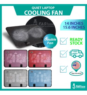 (Ready Stocks in Malaysia) NEW Quiet Laptop Cooling Cooler USB Big Fan with 2 Fan 14