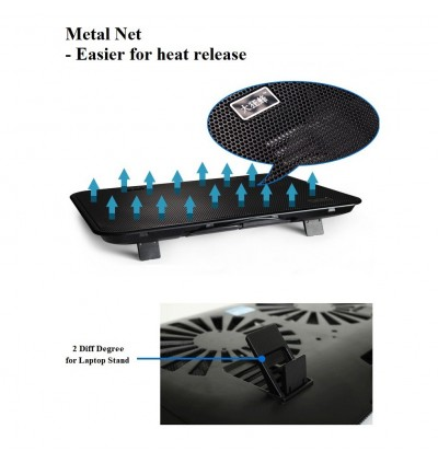 "Quiet Laptop Cooling Cooler USB Big Fan with 2 Fan 14"" 15.6"""