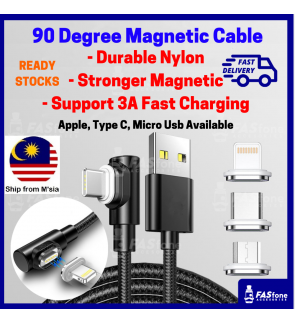 Magnetic Cable Fast Charging Cable 90 Android Cable Apple Lightning Cable 3A