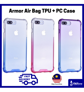 iPhone 6 6S 7 8 Plus X Xs Max XR Air Bag Transparent TPU PC Back Case Gradient