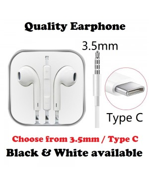 Earphone Type C Earphone 3.5mm Earphone Apple Android Earpod HiFi Stereo Quality Bass Sound