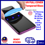 Samsung S10 Plus S10E Note 9 S9 Plus Note 8 S8 Plus S7 Edge UV Light Full Glue Curved Tempered Glass