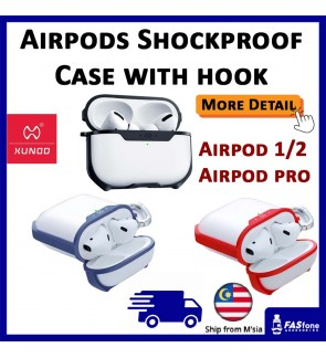 (Original XUNDD) Airpods Case Airpod Cover Shockproof Water Resistant Full Cover Case Hook Soft TPU XUNDD