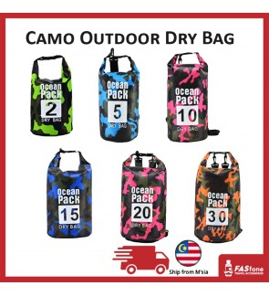(Ready Stocks) Camo Dry Bag Storage Bag Waterproof Outdoor Mobile Backpack 2L 3L  5L 10L 15L 20L 25L
