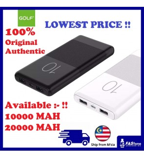 (Local Ready stocks) Golf Power Bank Ultra Slim 10000mAh Full Capacity Power Bank Powerbank