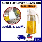 Auto Open Flip Cover Glass Jug for Oil Ingredient Glass Container Anti Slip Anti Leak