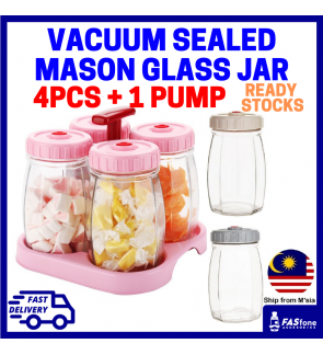 (4pc x 620ml Set + FREE Vacuum) Mason Jar Vacuum Sealed Jar Snack Jar Glass Jar