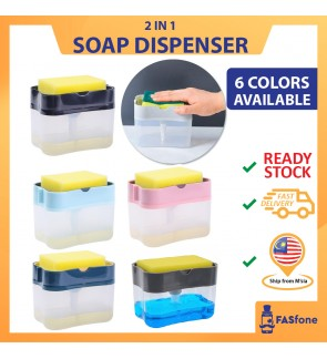 (Ready Stocks in Malaysia) 2 IN 1 Soap Dispenser Kitchen Soap Pump Dispenser Free Sponge