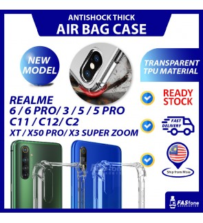 REALME 3/ 5/ 5 PRO/ XT/ C2/ X3/ C11/ C12/ X50 PRO/ 6 PRO/ 6 Phone Case Transparent Airbag Shockproof Antifall