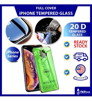 20D iPhone 11 Pro Max SE2 6 6s 7 8 Plus X Xs Max XR Full Round Edge Tempered Glass Apple