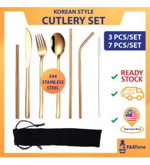 (ReadyStocks@Malaysia) 304 Stainless Steel Straw 7 In 1 Utensil Spoon Fork Chopstick Set Reusable Metal Cutlery Set