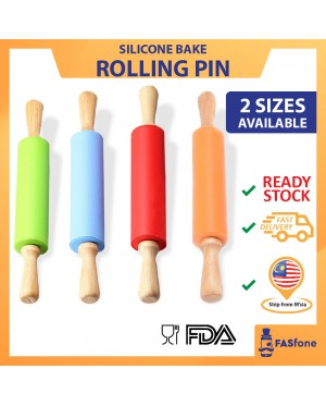 Kitchen Tools Bakeware Silicone Rolling Pin Wooden Handle