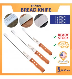 Stainless Steel Blade Wood Handle Bread Knife Teeth Plain 10 12 14 Inch
