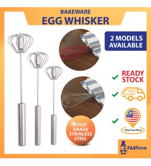 (Malaysia Ready Stocks) Push Rotation Auto Hand Push Stainless Steel Whisk Mixer Egg Beater Cream  Blender