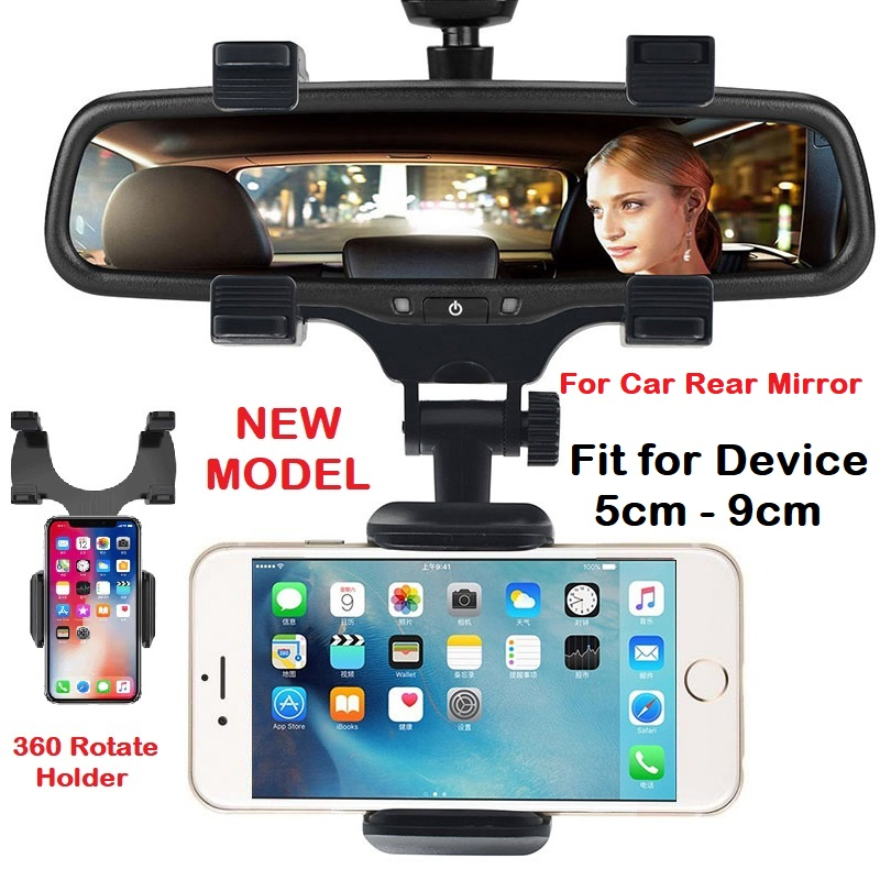 360 Universal Car Rear View Mirror Mount Holder IPhone Samsung Huawei Oppo VIvo