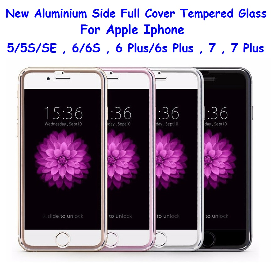 Aluminium Apple iPhone 5 5S SE 6 6S 7 8 Plus Full Cover Tempered Glass