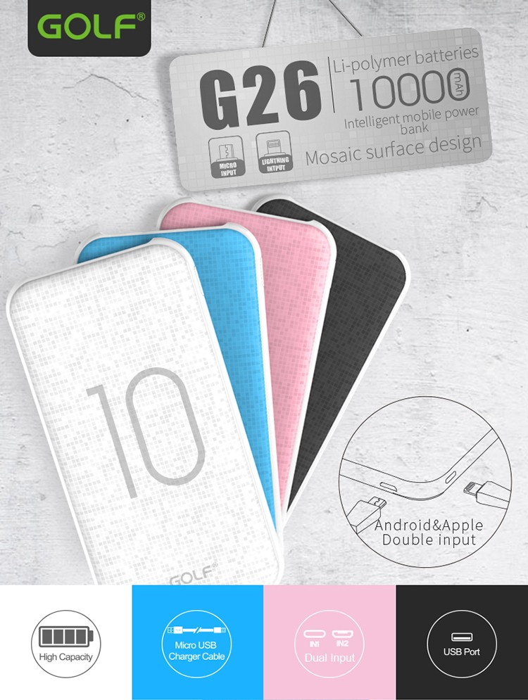 Golf Power Bank Mosaic Ultra Slim Full Capacity 10000 mah